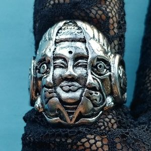 Steel Buddha Within Monster Ring, adjustable